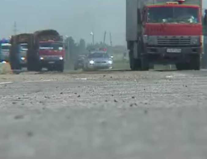 Кировская автоколонна с гуманитарным грузом приближается к Владикавказу