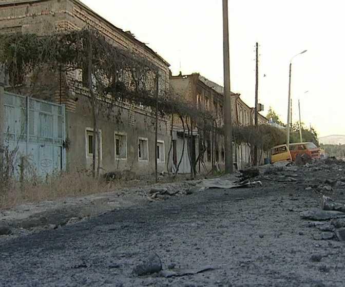 Улица Цхинвала, покрытая пеплом