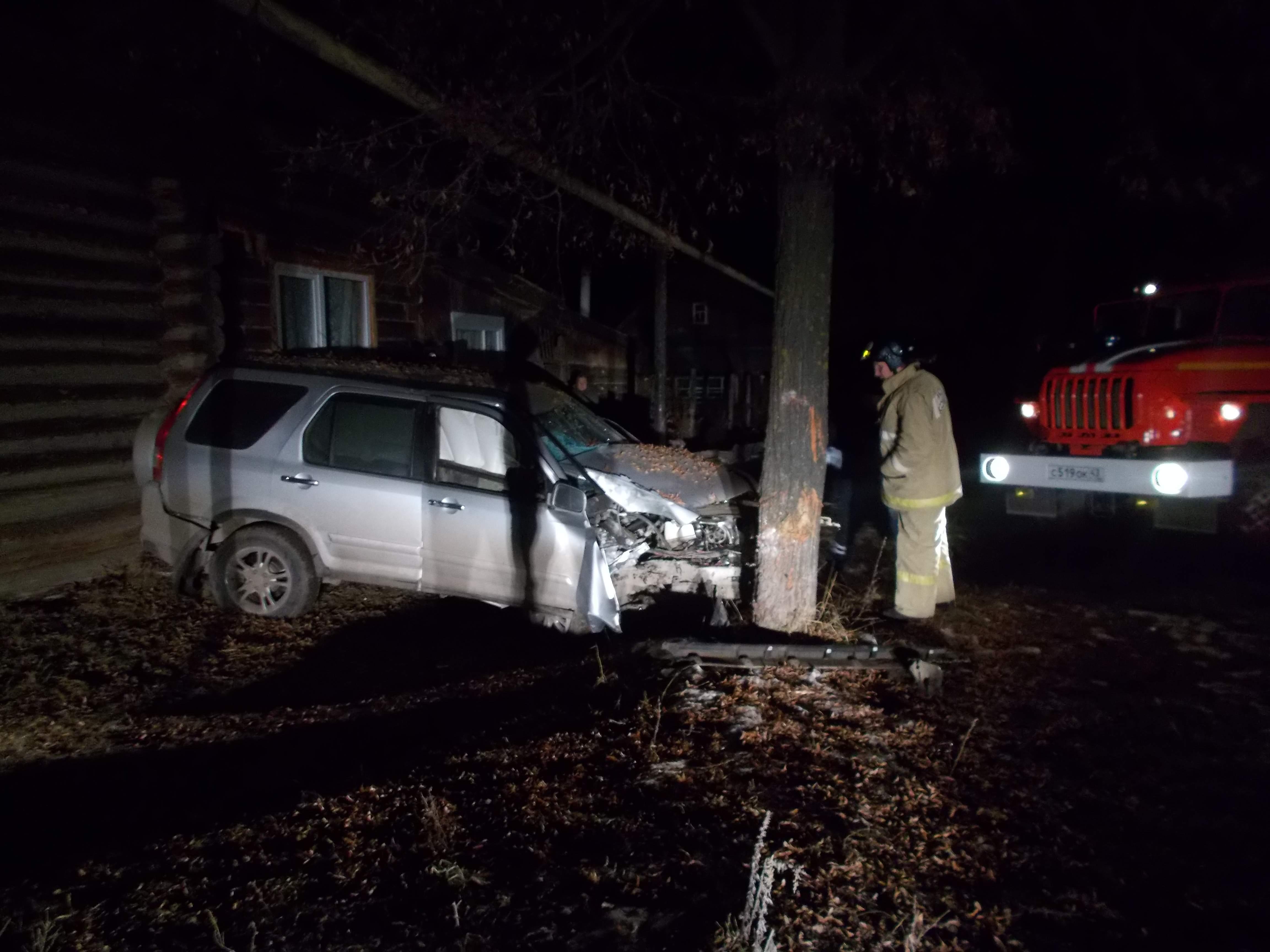 В Уржуме Хонда Sir-B2 врезалась в дерево.
