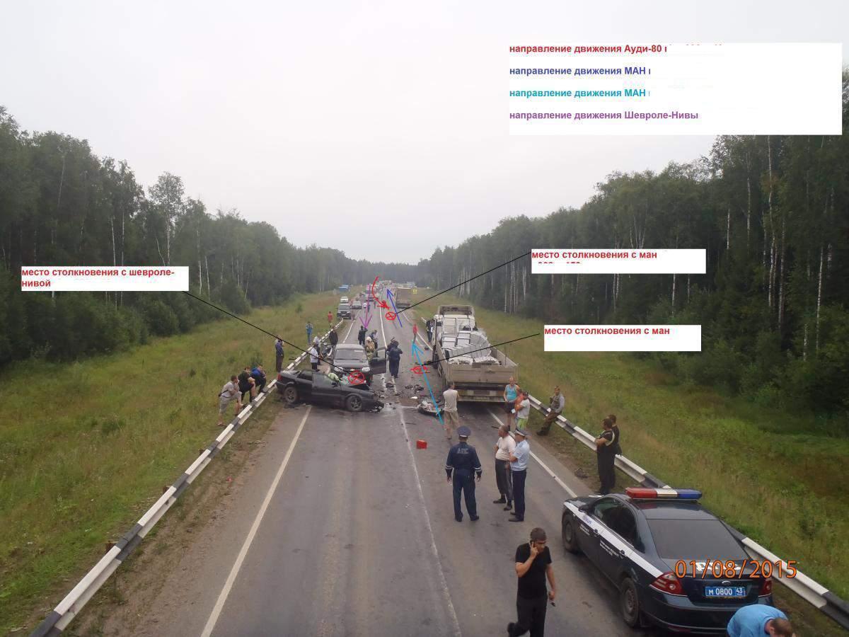 На трассе Гнусино - Шихово столкнулись две фуры и две иномарки.