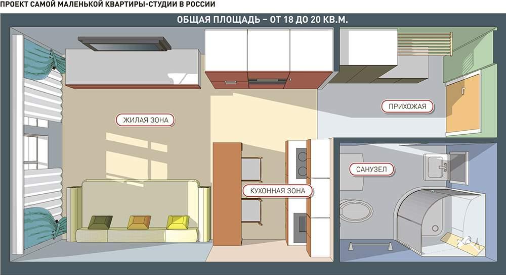 Студия 30 кв.м дизайн проект