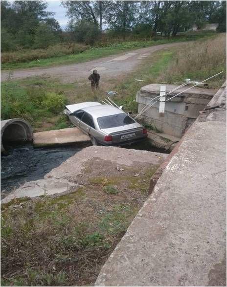 ВКировской области иностранная машина скатилась смоста