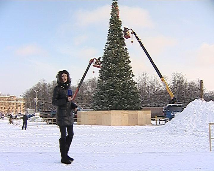 На Театральной площади уже наряжают главную елку областного центра