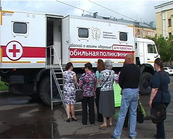 Медицинский осмотр на Театральной площади города Кирова
