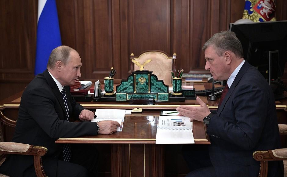 Владимир Путин провёл рабочую встречу с губернатором Кировской области Игорем Васильевым.