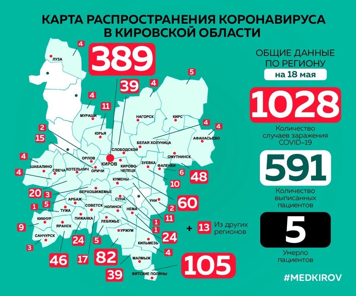 В Кировской области без коронавируса осталось только четыре района